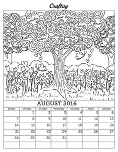 Looking for your next project? You're going to love August 2016 Coloring Calendar Page by designer CraftsyBlog.