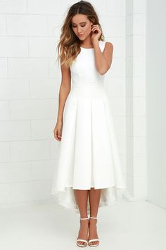 Hem skirt so that it's one length not two-Paso Doble Take Ivory High-Low Dress at Lulus.com!