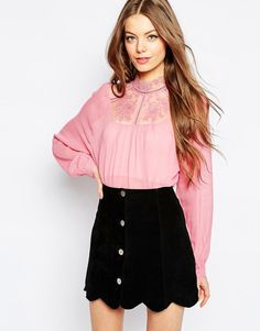 Image 1 of ASOS Lace Insert Victoriana Blouse