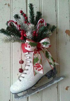 Christmas decor Decorated Ice Skate Christmas Ice skate by Cottage Christmas, Christmas Porch, Noel Christmas, Country Christmas, Outdoor Christmas, Winter Christmas, Christmas Wreaths, Christmas Ornaments, Christmas Projects
