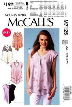 McCall's Sewing Pattern M7125 Women's L XXL Easy Pullover Tops Tunics 7125 | eBay