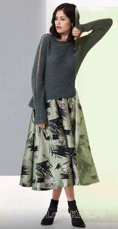 Спицами пуловер с баской и ажурной полосой на рукавах фото к описанию