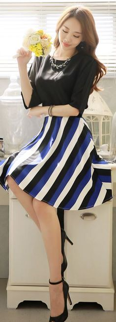 StyleOnme_Striped Flared Skirt with Ribbon Back Detail #striped #skirt #ribbon #flaredskirt