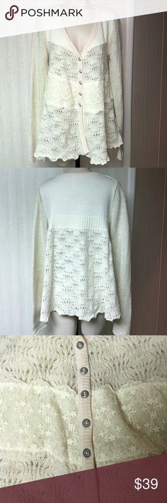 Free people sweater Free People  ivory 5 button sweater with lace. Size large Free People Sweaters Cardigans