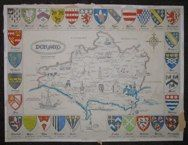 "dorset map with crests london contemporary lithograph   12 x 16"" $25"