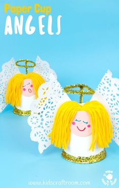 This Pretty Paper Cup Angel Craft is easy to make and looks darling! Decorate the mantlepiece, use as a Christmas tree topper or hang them as ornaments! A fun Christmas craft for preschoolers. Preschool Christmas Crafts, Christmas Arts And Crafts, Bible Crafts For Kids, Easy Crafts For Kids, Christmas Activities, Cute Crafts, Craft Stick Crafts, Craft Foam, Craft Sticks