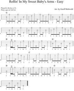 Rollin' in My Sweet Baby's Arms (Easy) Beginners banjo tab
