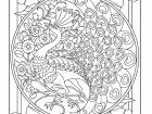 Display image coloring-adult-art-nouveau-style-peacock