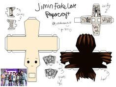 RM and Jin Papercraft Templates (Fake Love-inspired) 3d Paper Crafts, Paper Toys, Paper Art, Diy And Crafts, Paper Doll Template, Kpop Diy, Bts Aesthetic Pictures, Bts Drawings, Bts Chibi