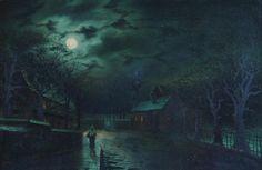 Moonlit Street Scene with Figure by Walter Linsley Meegan (1859–1944)