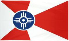 City of Wichita Flag  The design derives from the Indian word Wichita, meaning scattered lodges. The white circle is the Indian symbol for home, the blue sun represents happiness and the red and white rays signify honor and courage.