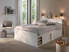 Bed with storage Belem, Conforama, price: € - Ikea DIY - The best IKEA hacks all in one place Bed Frame Design, Bedroom Bed Design, Home Room Design, Small Bedroom Designs, Ikea Bedroom, Bedroom Decor, Lit Ikea Brimnes, Small Bedroom Storage, Bedroom Designs