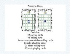 Bingo Game Fun-  Antonym Practice What a fun-filled way to review Antonyms. This colorful Bingo game can be printed on heavy cardstock and laminated to make a lasting reusable game. As an alternative, you can choose to print it on paper and allow the stud