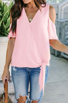 c89a26674da Chiffon Solid Color Cold Shoulder V Neck Belted Shirt. Chiffon TopsJeans  StyleWomen s ...