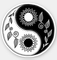 Sticker featuring a yin yang symbol decorated by a floral design. Black and white design with abstract sunflowers Arte Yin Yang, Ying Y Yang, Yin Yang Art, Yin And Yang, Ying Yang Symbol, Mandala Drawing, Mandala Art, Symbole Ying Yang, Yin Yang Designs
