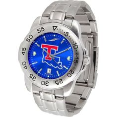 """Louisiana Tech Bulldogs NCAA AnoChrome """"Sport"""" Mens Watch (Metal Band) by SunTime. $63.00. Rotation Bezel/Timer. Calendar Date Function. Scratch Resistant Face. This handsome, eye-catching watch comes with a stainless steel link bracelet. A date calendar function plus a rotating bezel/timer circles the scratch resistant crystal. Sport the bold, colorful, high quality logo with pride. The AnoChrome dial option increases the visual impact of any watch with a stunning r..."""