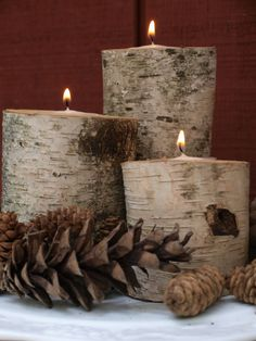 Birch Log Candle Holders by HomeSpunStyle on Etsy Candle Lanterns, Diy Candles, Pillar Candles, Birch Logs, Birch Branches, Birch Trees, Birch Bark, Eco Deco, Log Candle Holders
