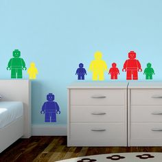 Lego Man Wall Sticker Pack x 8 Pieces Children's Boy's Girl's Transfer Decal Art Vinyl Bedroom Nursery Playroom