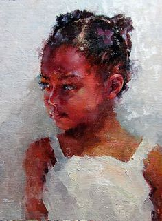 """""""Reluctant"""" - Michael Maczuga (b. 1957), oil on panel {figurative #impressionist art cute young female child african-american black girl cropped face portrait painting} michaelmaczuga.com"""