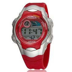OHSEN 7 Colors LED Back light Alarm Date Stopwatch Red Jelly Wristwatch Boys Kids Children LCD Digital Sports Watches AS58