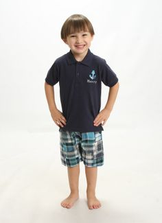 Boys Navy Blue Anchor Collared Top with by SunbeamRoad on Etsy, $42.50