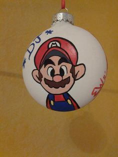 Mario Brothers Handpainted Ornament by Erica C. Wood www.howsheseesitecwood.etsy.com on Etsy, $9.95
