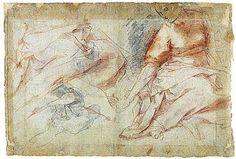 Federico Barocci - half figure studies and legs with drapery