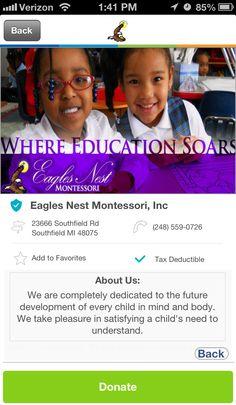 Eagles Nest Montessori, Inc. in Southfield, Michigan #GivelifyNonprofits