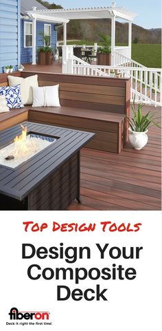 Start designing your custom outdoor living space. Choose from over 20 different solid and multi-chromatic color and grain pattern options. Fiberon composite deck and railing products are eco-friendly, low maintenance, and stand up against the elements better than wood. Visit fiberondecking.com