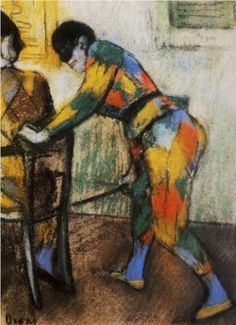 """Two Harlequins"" -- 1886 -- Edgar Degas -- French -- Pastel -- National Gallery of Ireland, Dublin. French Impressionist Painters, Impressionist Artists, Impressionism Art, Edgar Degas, Degas Drawings, Degas Paintings, Pierre Auguste Renoir, Edouard Manet, Camille Pissarro"