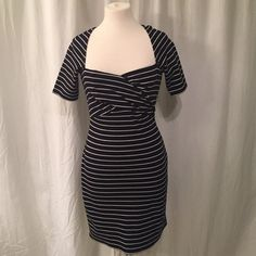 NAVY & WHITE STRIPED SLEEVED DRESS - size 2 navy/black & white striped, sleeved dress - size 2 - Miss Sixty (M60) - USED (barely worn, great condition) Miss Sixty Dresses