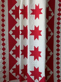 Free People Vintage Handmade Red and White Patterned Quilt, $428.00