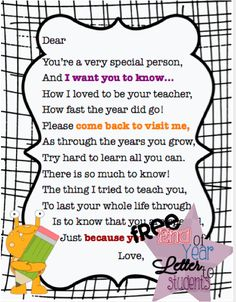 End-of-year Goodbye Poem/Gift   Student teacher gifts ...