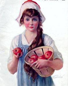 Gene Pressler - Pretty Young Girl With Apples - McCall's Magazine Vintage Girls, Vintage Children, Vintage Images, Vintage Art, Vintage Pictures, Vintage Food Posters, Apple Art, Female Pictures, Magazine Art