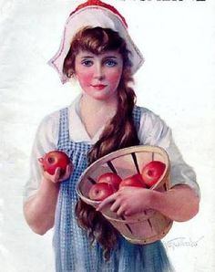 Pretty Young Girl With Apples - McCall's Magazine, by Gene Pressler