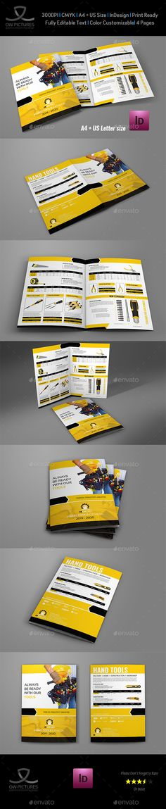 Hand Tools #Products Catalog Brochure Template - Catalogs #Brochures Download here:  https://graphicriver.net/item/hand-tools-products-catalog-brochure-template/20103098?ref=alena994