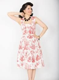 889da1bdf304ad SALE! 1940s Style Red Toile Sugar Doll Dress (35157-SUGARDOLL) van Bernie
