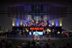 Trinity Baptist Church in Jacksonville, Florida brings us this remedy logo stage design | Church Stage Design Ideas
