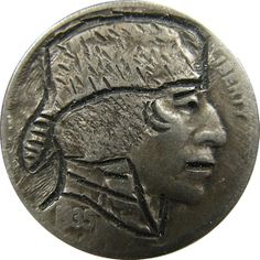 J. ALLEN HOBO NICKEL - COONSKIN CAP* - 1935 BUFFALO PROFILE Hobo Nickel, Buffalo, Classic Style, Coins, Carving, Profile, Cap, User Profile, Baseball Hat
