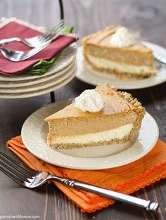 Layered Pumpkin Cheesecake Pie ~ http://www.garnishwithlemon.com