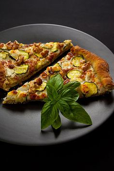 Zucchini Walnut Goat Cheese Pizza
