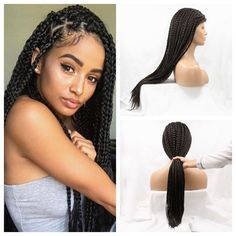 Alibaba Hair Box Braided Hair Wig Full Hand Tied Synthetic None Lace Wigs With Natural Babyhair New Braided Wigs For Black Women