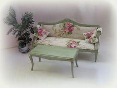 Dollhouse miniature Shabby Chic Cottage Sofa and by MiniAbuela,