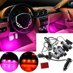 12V+Car+Charge+4+in+1+Atmosphere+Light+Lamp+Glow+Car+Interior+Decor+db