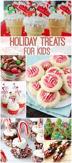 Holiday Treats for Kids! Homemade Goodies and Snacks for Christmas Parties or Class Parties! Holiday Treats for Kids! Homemade Goodies and Snacks for Christmas Parties or Class Parties! Mini Desserts, Holiday Desserts, Holiday Cookies, Holiday Baking, Holiday Treats, Holiday Recipes, Party Desserts, Christmas Party Snacks, Christmas Sweets