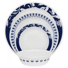 Corelle® Boutique™ Indigo Uptowne Blue Mavi-Serviciu de masă-16 piese