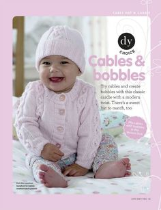 Cables and bobble hat and cardigan for baby.