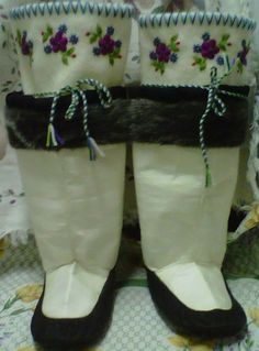 Inuit made women's sealskin kamiks by Sharon Etuangat SOLD for $1,700!