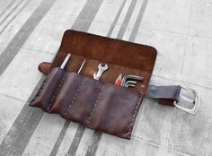 """Bags Tool """"Pocket Garage"""" Leather Tool Roll Made in Italy Porta Tools Moto Scrambler Triumph Motorcycles Full Grain Leather First Flower"""
