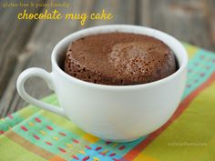 Chocolate Mug Cake - takes minutes to make in the microwave. Gluten-free, Paleo-friendly. Recipe on myheartbeets.com